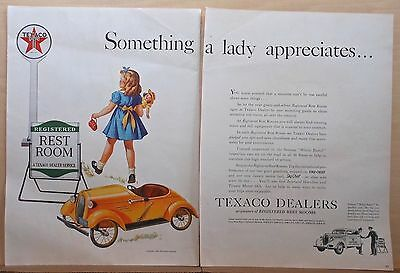 1940 two page magazine ad for Texaco - A Lady Appreciates Clean Restrooms