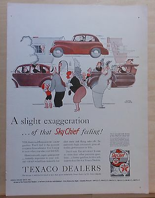 1940 magazine ad for Texaco Sky Chief gas - Gluyas Williams cartoon, flying car