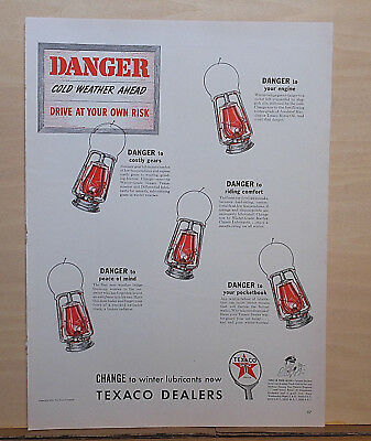 1940 magazine ad for Texaco - Cold weather ahead, railroad lanterrns signal