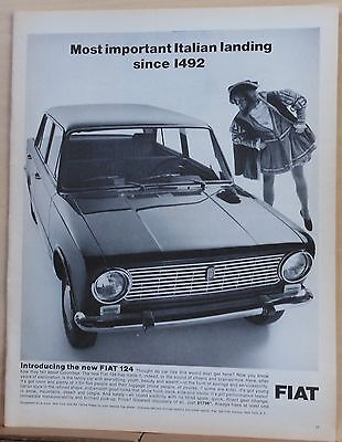 1966  magazine ad for Fiat 124 - Christopher Columbus, important Italian landing