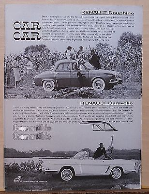 Vintage 1960 magazine ad for Renault - Dauphine, Caravelle convertible photos