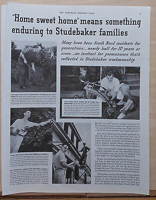 1937 magazine ad for Studebaker - employees at home in South Bend Indiana