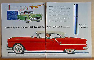 """1954 two page magazine ad for Oldsmobile - Super """"88"""" Holiday Coupe, 195x model"""