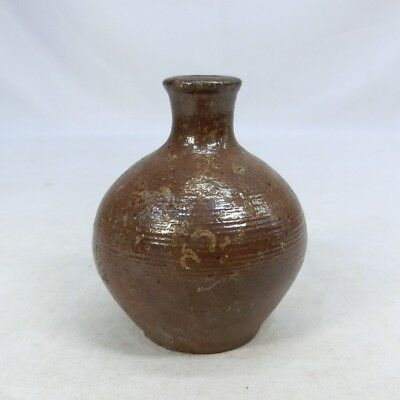 G090: Japanese old TANBA pottery small vase RARE size with appropriate work.