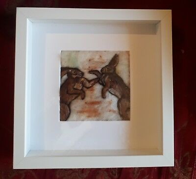 """needle felted hare painting 5"""" by 5"""""""