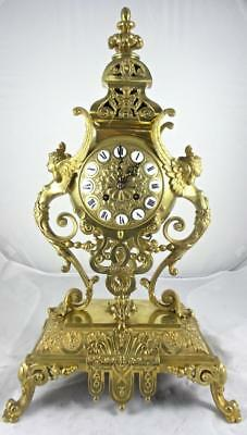 Superb Antique 19th c French Japy Freres Solid Gilt Bronze Mantel / Table clock