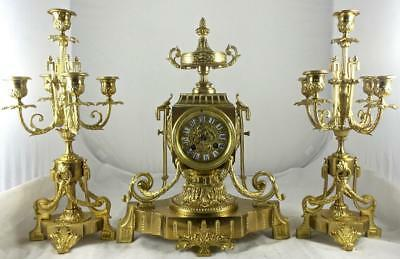 Spectacular Antique 19th c French Solid Gilt Bronze Mantle Clock Garniture Set