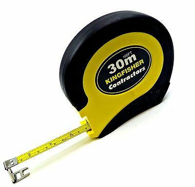 Surveyors 30m 100ft STEEL Tape Measure Marked Metric Imperal Easy Wind Back Grip