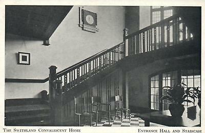 1920's SWITHLAND CONVALESCENT HOME ENTRANCE HALL and STAIRCASE POSTCARD