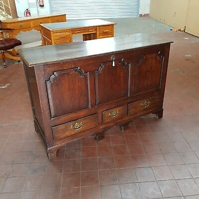 Antique Georgian Solid Oak Large Mule Chest With Drawers / Coffer / Rug Chest