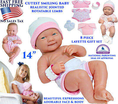 """Newborn Baby Alive Doll Girl Realistic Cutest Smiling Jointed 8 Pcs Set Pink 14"""""""
