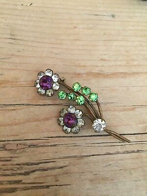 art deco style suffragette colours Vintage Posy Crystal Brooch