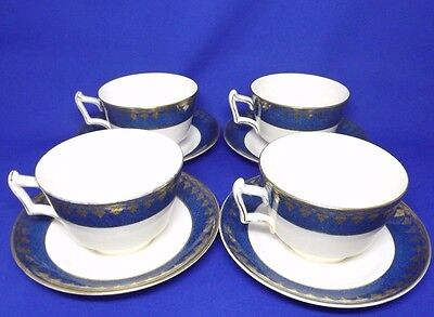 George Jones Crescent Ivory 4 x Tea Cups + Saucers  Antique Blue & Gold Art Deco