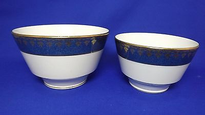 George Jones Crescent Ivory - 2 x Bowls / Dishes - Antique Blue & Gold Art Deco