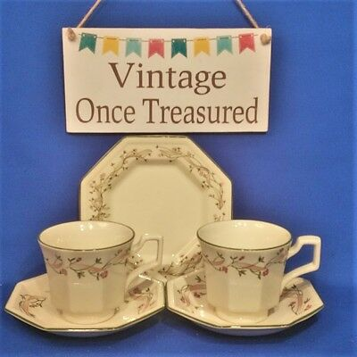 Johnson Brothers Eternal Beau - 2 x Tea Cups & Saucers + Biscuit / Side Plate
