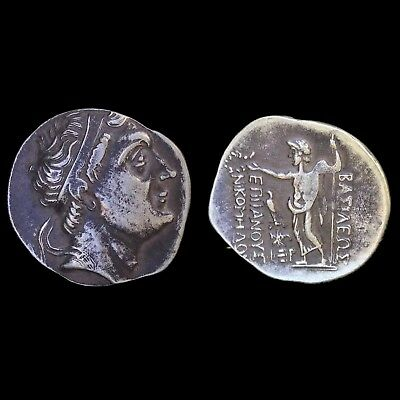 VERY RARE ANICENT UNRESEARCHED GREEK SILVER TETRADRACHM COIN, 323 - 281bc (1)