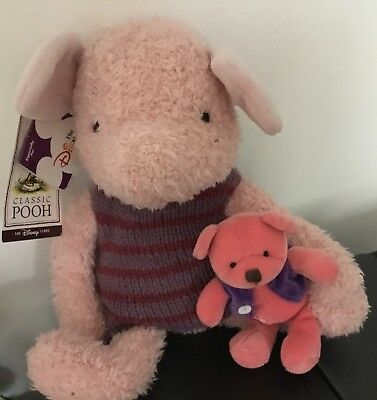 Rare Vintage Disney Store Classic Piglet With Teddy Bean Bag Plush 13 Inches