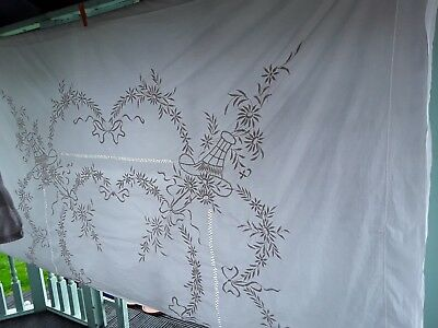 "Vintage Large Embroidered  Banqueting Tablecloth 100"" X 86"" , white on white"