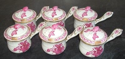 Rare set of HEREND pot de creme/custard cup Hand painted Chinese Bouquet