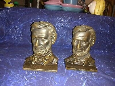Lincoln Head Brass Bookends by Verona