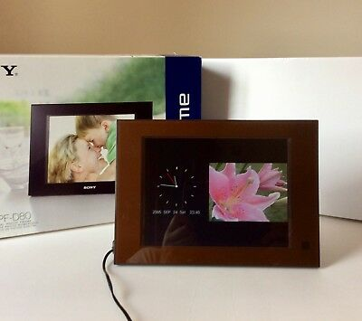 """Sony DPF-D80 8"""" Digital Picture Frame Rare Brown Colour. Boxed Excellent"""