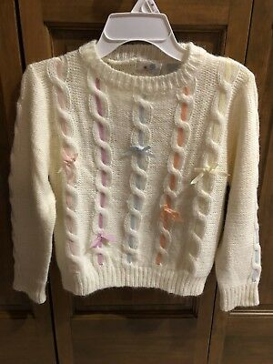 Vtg Early 1980's Girls BUTTONS Brand Size Large Sweater With Ribbon Interwoven