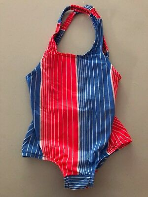 Vintage 1970's Girls Toddler Red, White, And Blue Swimsuit