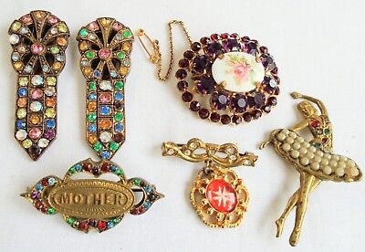 Four good vintage Deco gold metal & paste brooches + 2 dress clips