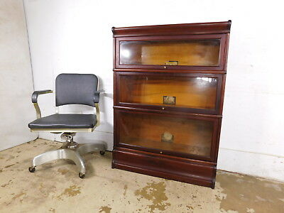 Antique 1920 Globe Wernicke 3 Stack Bullnose Barrister Mahogany Lawyers Bookcase