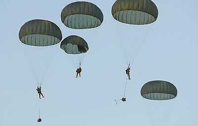 New Military Gray In Color T10D Parachute 35 Ft. Complete With Lines And Raisers