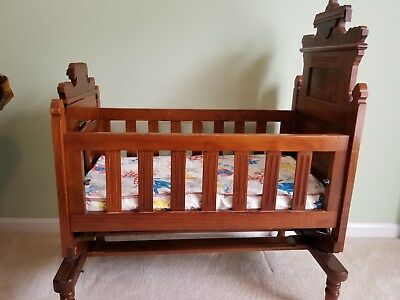 Antique Inlaid Wooden Baby Cradle with Stand