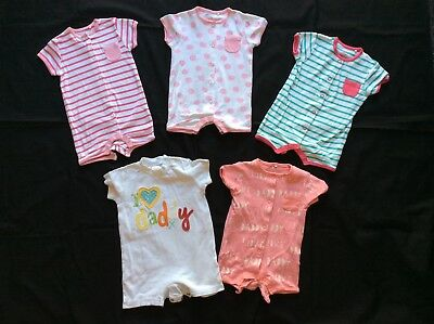 5 x Baby Girl Next Romper Suits 3-6 months Pink Green Peach Spots Stripes Bundle