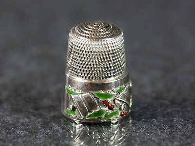 Vintage Simon Bros Sterling Silver, Bells and Holly Thimble, Enamel, Christmas