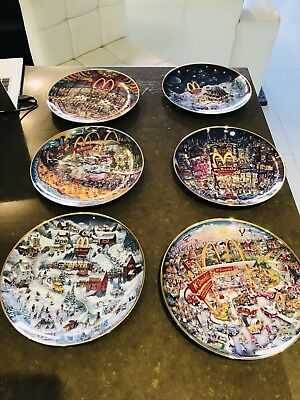 Set Of 6 Bill Bell Franklin Mint Collectors Plates Brand New With Foam Boxes