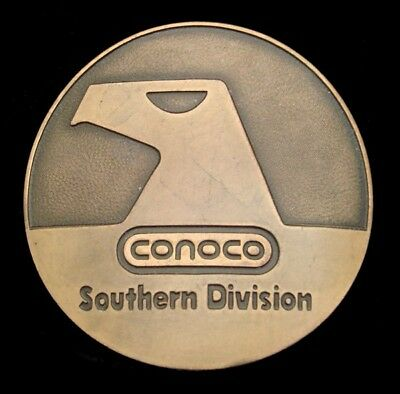 QG02120 VINTAGE 1980s  **CONOCO** SOUTHERN DIVISION SOLID BRASS OILFIELD BUCKLE