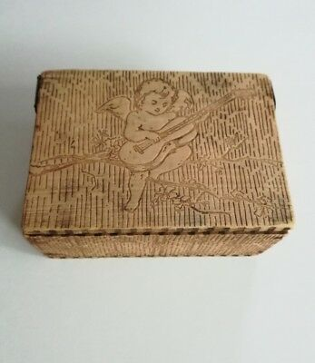 Vintage Pyrography Wood Burned Lidded Box Cherub Baby Playing Guitar