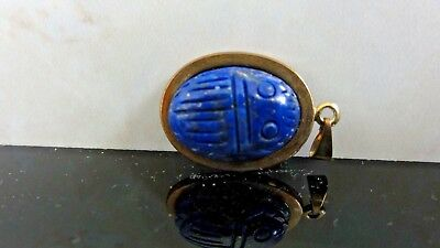 Vtg Antique Egyptian Revival Carved Genuine Lapis Lazuli Scarab  Charm Pendant