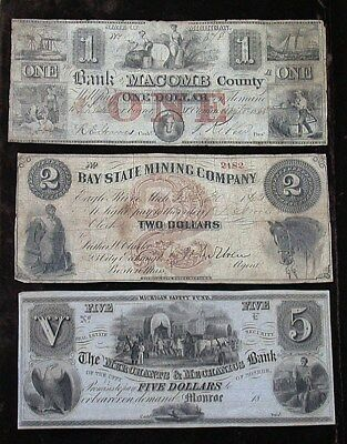 Three Average Circulated Obsolete Bank Notes (rb1915)