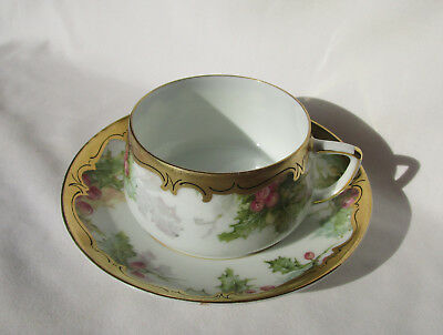 Hermann Ohme Silesia Porcelain Tea Cup and Saucer Grapes & Vine Heavy Gold Gilt