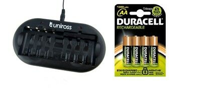 UNiROSS 8 Position  FAST AA/AAA BATTERY CHARGER & 4 x AA DURACELL BATTERIES