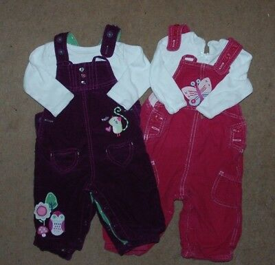 BABY GIRL BUNDLE ~ 6-9 months - Pin Cord DUNGAREES & Tops - M & S - Pink Purple