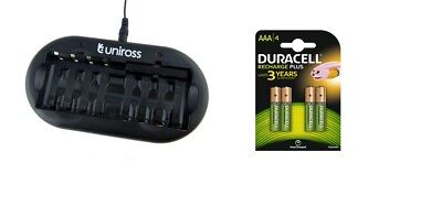 UNiROSS 8 Position  FAST AA/AAA BATTERY CHARGER & 4 x AAA DURACELL BATTERIES