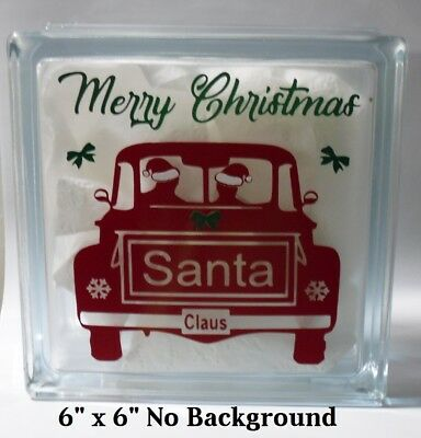 "Merry Christmas Santa Claus Old Truck Decal Sticker for DIY 8"" Glass Block"