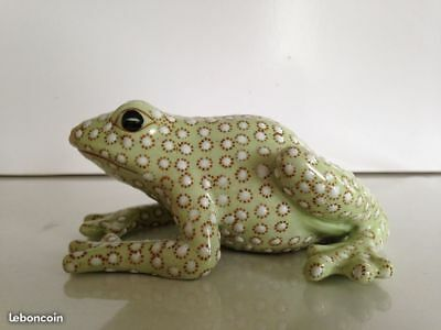 Tres Belle Grenouille Tout En Faience Emaillee
