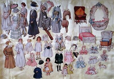 Nice Big LOT Antique Primitive Magazine Victorian Dress Paper Doll  Cut out