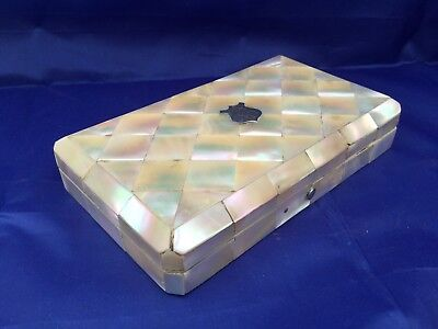 Antique Victorian Mother of Pearl Case. Sewing Etui Set Complete. Silver Pencil