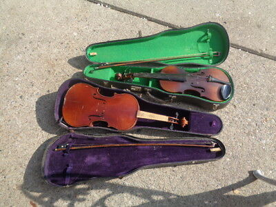 2 ANTIQUE VIOLIN IN WOOD CASE PARTS/REPAIR with bows cases 1 missing strings