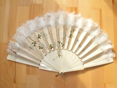 Victorian Hand Painted Silk Fan Feather Trim