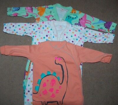 3 x SLEEP SUITS - NEXT - 6-9 Months - Girls - Bright Fun Dinosaurs body suit