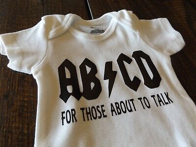 ABCD For Those About To Talk AC/DC Style Baby Bodysuit Onesie Rock Band Clothing